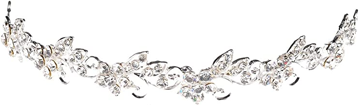 Topwedding Rhinestone Wedding Tiara Headband Bridal Floral Headpiece Hair Jewelry Women Girls