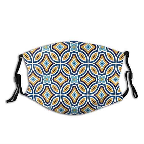 FULIYA Mascarillas faciales reutilizables para mujeres y hombres, diseño de cultura tradicional marroquí oriental vintage, estilo otomano real árabe, 5.9 x 7.9 pulgadas, tamaño mediano, unisex adulto