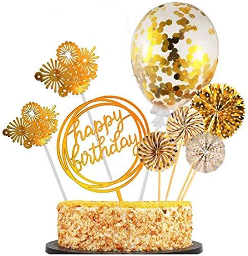 Sinwind Tortendeko Happy Birthday Kuchendeckel Golden Geburtstag Kuchen Dekoration für Baby Freunde Familie Glitter Gold Silber Rosa Herzen Größe (Golden)