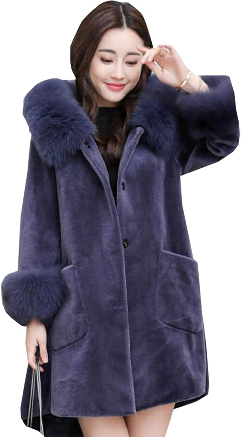 Generic Women's Warm Winter Faux Fur Hooded Parka Long Coat Jacket Top Outwear