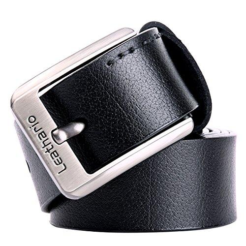 Leathario Cintura in Pelle da Uomo con Fibbia in Metallo Cinghia Cuoio Elegante per Lavoro Casuale per L'uso Quotidiano