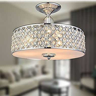 Saint Mossi Chandelier Modern K9 Crystal Raindrop Chandelier Lighting Flush mount LED Ceiling Light Fixture Pendant Lamp for Dining Room Bathroom Bedroom Livingroom 3E12 Bulbs Required H11  W15.4