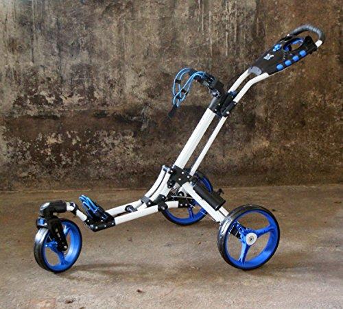 Yorrx Golftrolley SL Pro 7 HAMMA Plus, Golfwagen mit innovativem 360° Spin Vorderrad (frei 360° gelagert), inkl. Regenschirmhalter & Tees (blau/weiß)