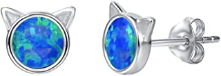 925 Sterling Silver Cat Stud Earrings Blue/White Opal Mini Cat Earrings Tiny Dot 6mm/8mm Small Round Disc Minimalist October Birthstone Jewelry for Women
