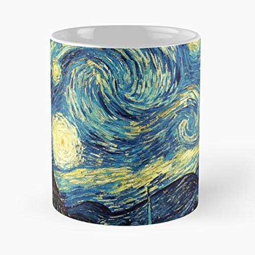 Vincent Night Blue Starry Van Artistic Gogh Best Taza de café de cerámica de 325 ml