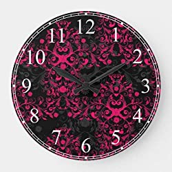 daoyiqi 15 Inch Wall Clock, Hot Pink and Black Floral Damask Large Clock, Silent Non Ticking Quality Quartz Wood Clock for Bedroom, Living Room Home Decor