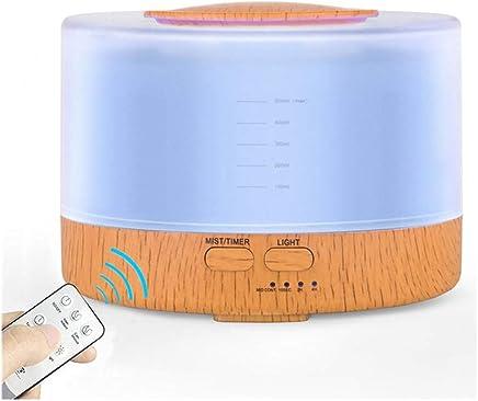 500ミリリットル超音波空気加湿器リモートコントロールエッセンシャルオイルディフューザーledライトアロマミストメーカーアロマテラピー噴霧器 (色 : 木の色)