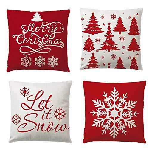 Set de 4 Fundas Navideñas para Cojines, Árbol de Navidad Reno del Copo de Nieve Decoración para el Hogar Fundas de Almohada de Lino Funda de Almohada Decorativa de Navidad Casa, 17.7 Pulgadas Red
