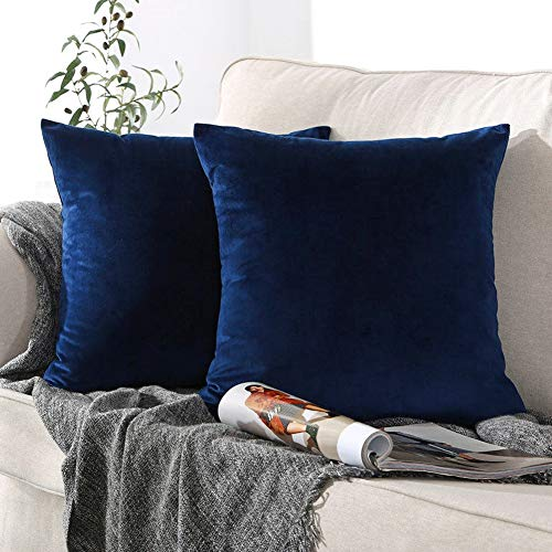 ONME Throw Pillow Covers Dark Blue 18x18 inchs, 2 Pack Velvet Pillow Case Decorative Solid Color Cushion Cover Pillowcases for Sofa & Couch, Bedroom, Car, Yard - ONLY Covers