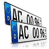 schildEVO 2 Kfz Saison Kennzeichen | OFFIZIELL amtliche Nummernschilder | DIN-Zertifiziert – EU Wunschkennzeichen mit individueller Prägung | Autokennzeichen...