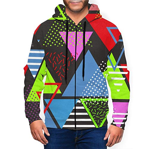 Multi-colored 80s Triangles Pattern Hoodie for Men