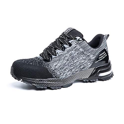 Zapatos de Seguridad para Hombre Zapatillas Deportivas de Mujer Puntera de Acero Calzado de Industrial Trabajo Construcción Botas Tácticas Trekking G Gris EU43