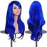 Wigs EmaxDesign 70 cm di alta qualità, dicono le donne s-Parrucca lunga riccia, resistente al calore a onde-Parrucca Glamour-Parrucca e cappello con parrucca e pettine, colore: blu scuro