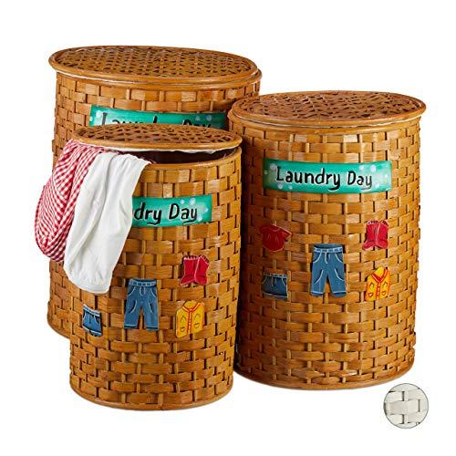 Relaxdays Bamboe waston 3-delige set, wasmand met deksel, uitneembare stoffen bekleding, luchtdoorlatende mand, bruin, honingbruin