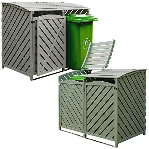 Bergman Double Wheelie Bin Store Storage Cupboard Unit Outdoor Garden Cover Recycling Waste Refuse Dustbin Hinged Lid Wooden Timber Green