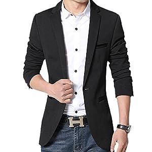 Gopune テーラードジャケット メンズ ジャケット ブレザー ストレッチ ビジネススーツ ブラック L