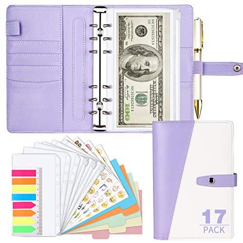 Onlyesh Budget Binder, A6 Binder with Stylish Design, Cash Envelopes for Budgeting, Budget Binder with Cash Envelopes, Refillable Loose-Leaf Binder Cover for Budget Planner Personal Organizer(Purple)