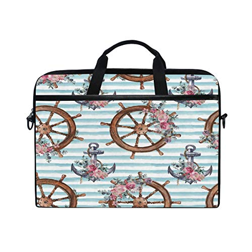 HaJie Laptop Bag Watercolor Rose Flower Rudder Anchor Computer Case 14-14.5 in Protective Bag Travel Briefcase with Shoulder Strap for Men Women Boy Girls