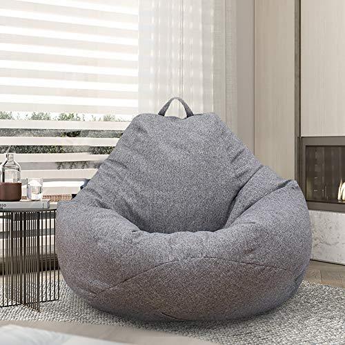 Funda de puf sin relleno XL (100 x 120) para adultos y niños, puf gigante de tela, puf de salón, para sofá grande, para interior y exterior (gris)