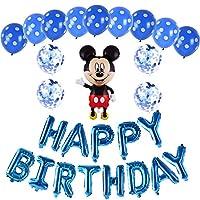 ミッキー 誕生日 飾り付け パーティー セット ブルー 男の子 女の子 可愛い 2 ディズニー happy birthday バルーン 風船 ミニー シルバー 15枚セット
