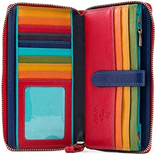 Visconti Spectrum 33 Multi Colored Soft Leather Ladies Wallet Purse Clutch (Red Multi), Large