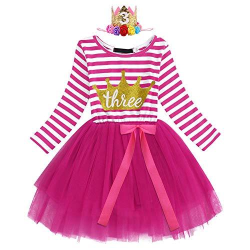 IWEMEK Kleinkind Baby Mädchen 1. / 2. / 3. Geburtstagskleid mit Krone Hut Blume Stirnband Gestreiften Tüll Tütü Prinzessin Kleid Partykleid Fotoshooting Outfits Kostüm Rose - 3 Jahre