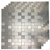 Art3d 5-Piece Metal Backsplash Tile Peel and Stick Mosaics for Kitchen Backsplashes, Silver