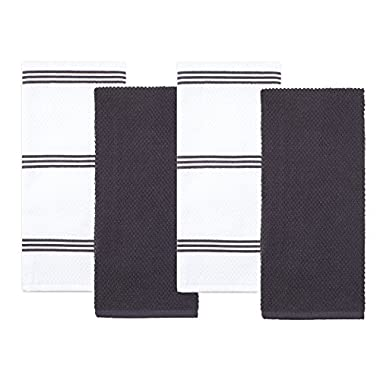 Sticky Toffee Cotton Terry Kitchen Dish Towel, 4 Pack, 28 in x 16 in, Gray Stripe