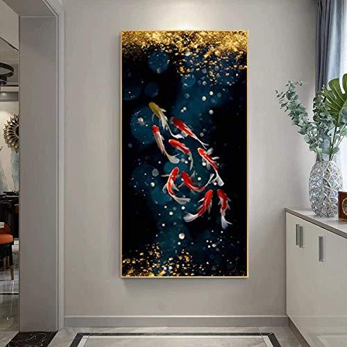 SHYJBH Wandkunst Bilder 60x120cm kein Rahmen Koi Fisch Lotus Teich Poster Drucke Bilder Leinwand Malerei Wandkunst Wandbild Eingang Wohnzimmer Moderne Wohnkultur
