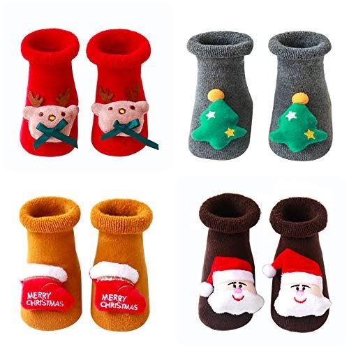 JNUYISW calzini neonato antiscivolo, calzini natalizi neonato 0-3 anni calzini neonato unisex calzini bambino con impugnatura (4 paia)