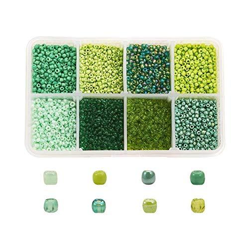 YuuHeeER 12 granos de semilla de cristal 2mm pequeños colores verdes mezclados para manualidades DIY 12500 unids 2mm joyería suministros
