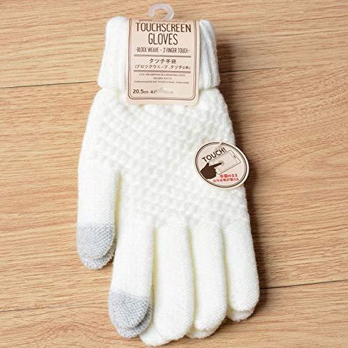 Guantes de Invierno de Punto para Mujer Guantes Gruesos cálidos de Otoño Invierno para Mujer Guantes de esquí con Pantalla táctil-Style 1 White-One Size