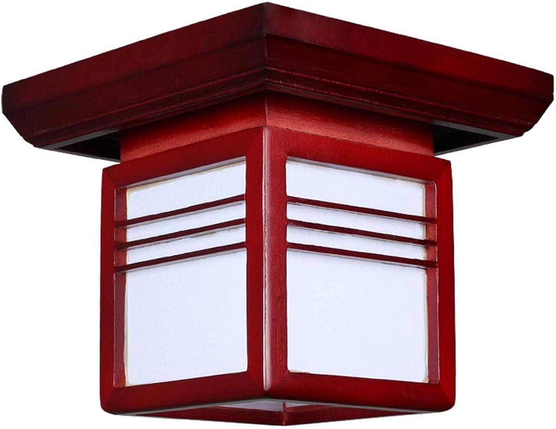 LCTCXD E27 Japanisch-hnliche Decke, kreatives modernes Massivholz führte energiesparende Decke, quadratischer Balkonflurhalleschlafzimmerflur dekorativ (Farbe   A)