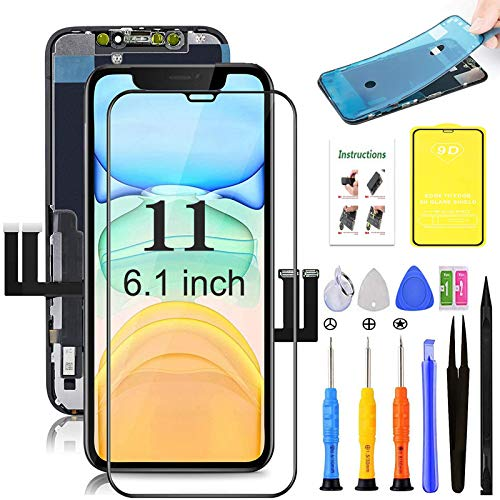 for iPhone 11 Screen Replacement,LCD Display 3D Touch Digitizer Assembly,Compatible with iPhone 11 Screen Replacement 6.1 inch (Model A2111, A2223, A2221) with Repair Tools and Screen Protector