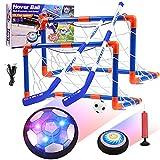 Diealles Shine Set de Air Power Football avec Cages, Jouet Enfant Ballon de Foot Rechargeable avec LED Lumières Hover Soccer Ball Jeux de Foot Interieur Exterieur Cadeau d'anniversaire Noël