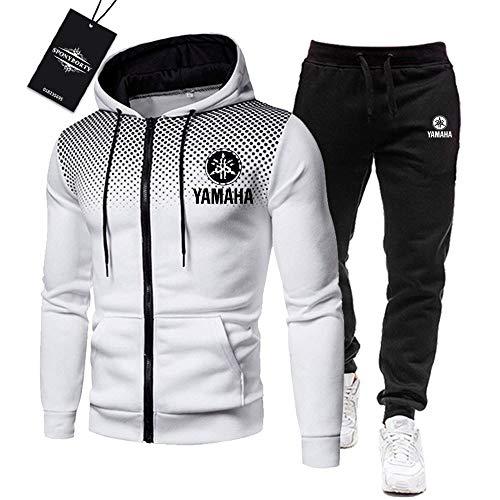 MAUXpIAO de Los Hombres Chandal Conjunto Trotar Traje Ya.M_Aha-s Hooded Zipper Chaqueta + Pantalones Deporte R Gimnasio/Blanco/L