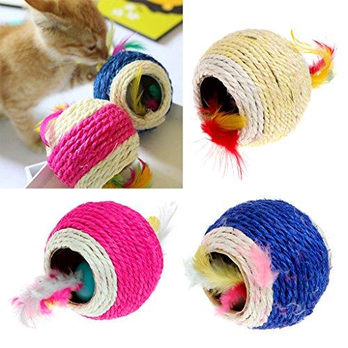 KatzenSpielzeug,Dairyshop Schöne Sisalseil Feder Kugel Teaser Scratch Chew Spielen Spielzeug für Haustier Katzen Kätzchen, Sisal - 2