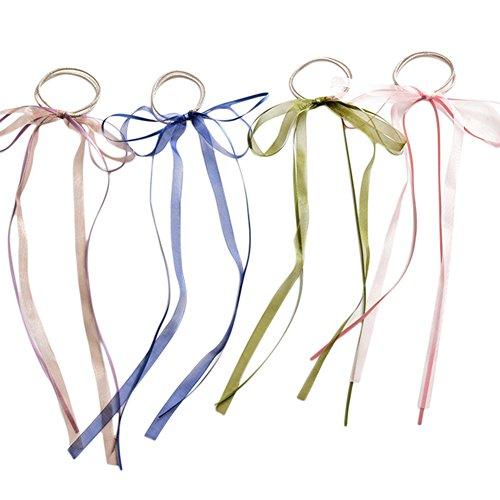 4x Chytaii Élastiques à Cheveux Cravate de Cheveux Bandeau à Cheveux Corde pour Queue de Cheval Accessoire Décoration de Cheveux Coiffure avec Ruban L