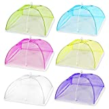 (6 Pack) Esfun 17' Colored Mesh Screen Food Cover Tents for Outdoors, Reusable and Collapsible Picnic Food Net Cover Umbrella Protect Your Food and Fruit From Flies,Mosquitoes and Bugs
