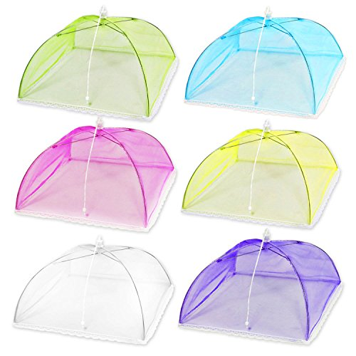 """(6 Pack) Esfun 17"""" Colored Mesh Screen Food Cover Tents for Outdoors, Reusable and Collapsible Picnic Food Net Cover Umbrella Protect Your Food and Fruit From Flies,Mosquitoes and Bugs"""