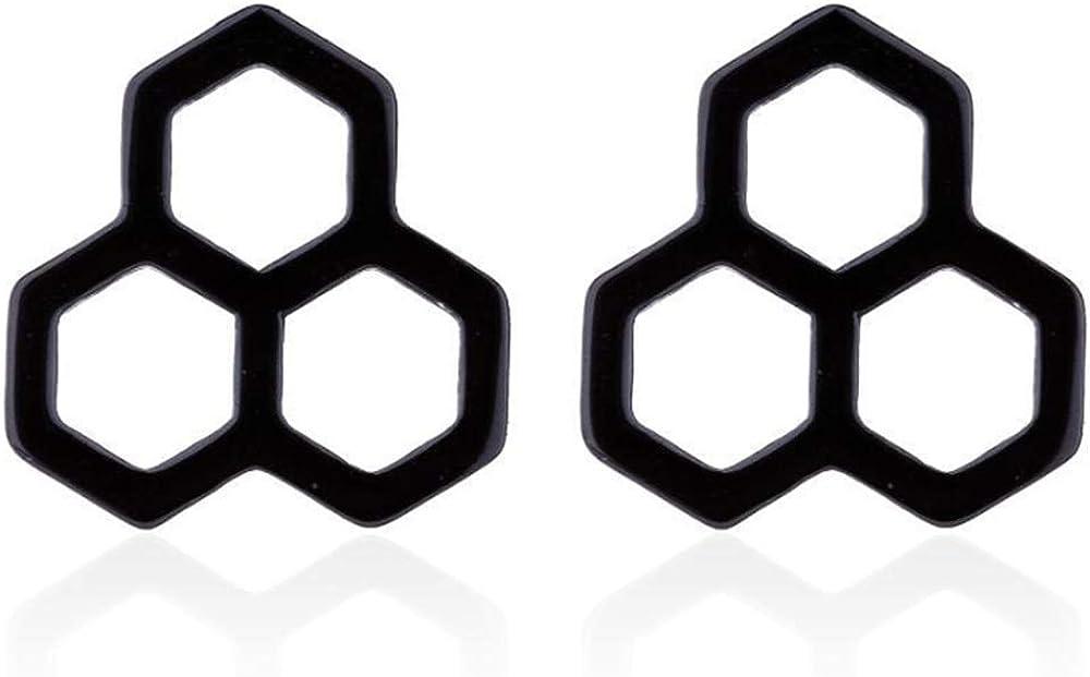 YINLIN Tiny Hexagon Honeycomb Stud Earring Bee Hive Stainless Steel Jewelry