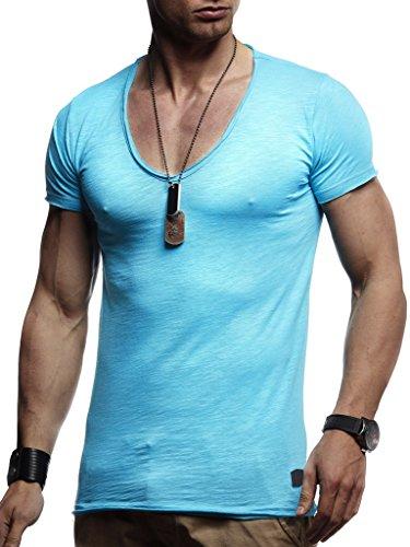 Leif Nelson Herren Oversize T-Shirt tiefer V-Ausschnitt Shirt Basic LN6280; Größe XL, Türkis