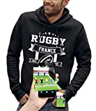 PIXEL EVOLUTION Sweat à Capuche 3D Rugby France en Réalité Augmentée Homme - Taille XL - Noir