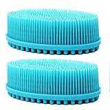 Loofah Exfoliating Body Scrubber 2 in 1 Face And Body Silicone Scrubber - Silicone Shower Brush Bath Sponge Loofa (2 pack-blue)