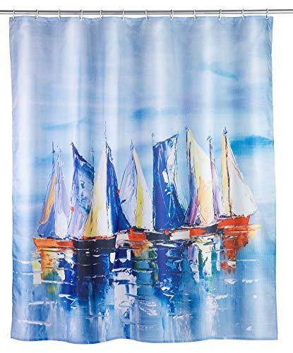 WENKO Duschvorhang Sailing - Textil , waschbar, wasserabweisend, mit 12 Duschvorhangringen, Polyester, 180 x 200 cm, Mehrfarbig