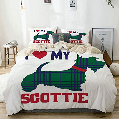 Yoyon Duvet Cover Set Beige,I Heart My Scottie Message Tartan Pattern Built in Dog Silhouette,Decorative 3 Piece Bedding Set with 2 Pillow Shams