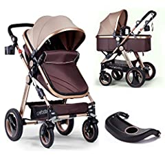 🎈GOLDEN APPEARANCE:🔰 Luxury golden frame, brown soft lycra canopy and brown Oxford bassinet bring you a feast of vision. Give your baby a gold carriage stroller. 0-6 months old can sleep in the bassinet, 7-36 months old can sit in the golden carriage...