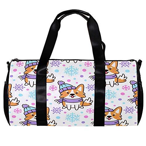 TIZORAX Seesack für Damen Herren Hut Schal Hunde mit Schneeflocken Sport Gym Tote Bag Wochenende Übernachtung Reisetasche Outdoor Gepäck Handtasche