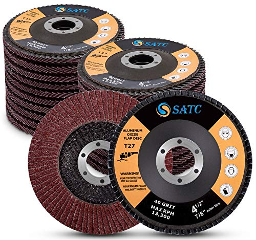 4 1/2 Flap Disc 20-Pack Assorted Grit 40 60 80 120 High Density Abrasive Grinding Wheel 4.5 x 7/8 Inch Flat Type #27 Sanding Disc