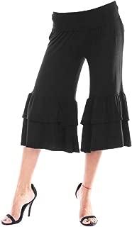 Cromoncent Womens Solid Sport Yoga Mid-Rise Ruffle Flare Baggy Capri Pants